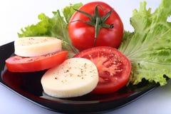 无盐干酪的部分用蕃茄、莴苣叶子和芳香抚人的选矿在黑色的盘子 选择聚焦特写镜头射击 免版税库存照片