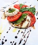 无盐干酪蓬蒿和新鲜的蕃茄 免版税图库摄影