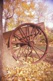 无盖货车细节在秋天在历史亨利灯芯议院, Morristown公园,新泽西 库存图片