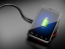 无线充电智能手机 图库摄影