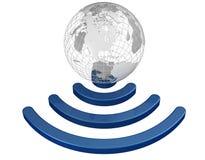 无线地球宽频标志 库存照片
