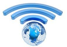 无线地球宽频标志 免版税库存照片