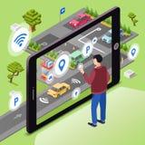 无线智能手机app技术的聪明的停车处例证 向量例证