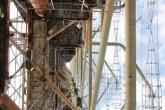 无线电地点驻地& x22; Duga& x22;底视图, Chornobyl区域 免版税库存图片