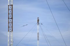 无线电波传输的空中平台  免版税图库摄影