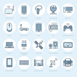 无线电设备平的线象 Wifi互联网连接技术标志 路由器,计算机,智能手机,片剂 皇族释放例证
