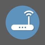 无线Wi-Fi路由器平的象 高速互联网连接圆的五颜六色的按钮,与屏蔽效应的圆传染媒介标志 库存照片