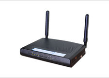 无线Wi-Fi路由器白色背景,截去pa的用途 免版税库存照片