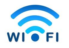 无线wifi网络蓝色图标 免版税库存照片