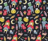 无缝万圣节的模式 孩子和猫在服装有甜点的在圆点背景 也corel凹道例证向量 免版税库存照片