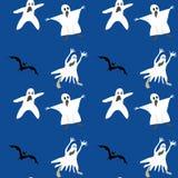 无缝万圣节的模式 棒剪影鬼魂传染媒介蓝色背景颜色 库存照片