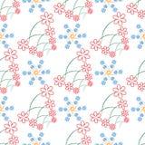 无缝与小的花的稀薄的分支 库存照片