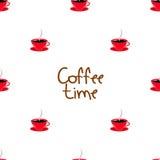 无缝与杯子的咖啡时间 免版税图库摄影