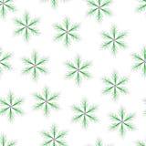 无缝与稀薄的枝杈的绿色六针对性的星 免版税库存照片