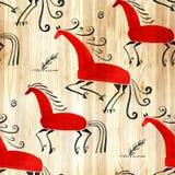 无缝东方的模式 Mezen传统绘画马 额嘴装饰飞行例证图象其纸部分燕子水彩 图库摄影