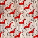 无缝东方的模式 Mezen传统绘画马 额嘴装饰飞行例证图象其纸部分燕子水彩 免版税库存照片
