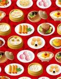 无缝中国食物的模式 免版税库存图片