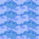 无缝云彩用蓝色的不同的颜色 免版税库存照片