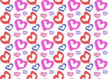 无缝五颜六色油漆在白色背景的心脏形状 免版税库存照片