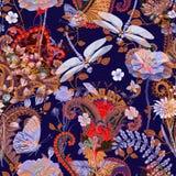 无缝五颜六色的花卉的模式 植物装饰品 装饰花和草 织品的,卡片,网设计 免版税图库摄影