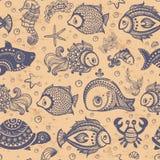 无缝传染媒介的鱼和的壳 免版税图库摄影