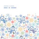 无缝传染媒介逗人喜爱的雪人水平的框架 库存图片
