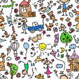 无缝儿童的模式 免版税库存图片