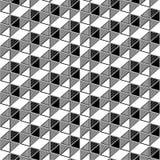无缝几何三角箱子幻觉的样式 免版税库存照片