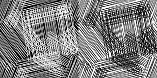 无缝几何的模式 与木纹理的黑白地板 镶边和方形的样式 向量例证