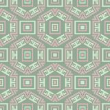 无缝几何的模式 与淡粉红的元素的橄榄绿背景 免版税库存图片