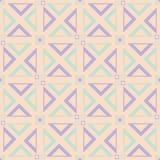 无缝几何的模式 与紫罗兰色和蓝色元素的米黄背景 库存图片