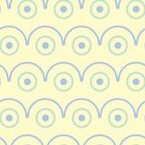 无缝几何的模式 与蓝色和绿色元素的米黄背景 库存图片