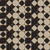 无缝几何的模式 圈子和金刚石在正方形 向量 免版税库存照片