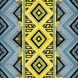 无缝几何的模式 种族和部族主题 水彩 向量例证