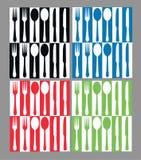 无缝刀叉餐具的模式 免版税库存图片