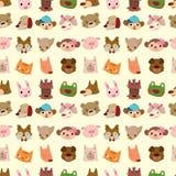 无缝动物动画片表面的模式 免版税库存图片