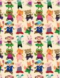 无缝动物舞蹈的模式 免版税库存图片