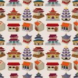 无缝动画片中国房子的模式 免版税图库摄影