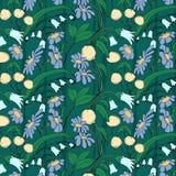 无缝可用的美好的eps花卉格式的模式 花传染媒介背景 库存图片