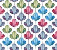 无缝叶子的模式 水彩灰色,蓝色,绿色和红色叶子 免版税库存照片
