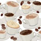 无缝咖啡杯的模式 免版税库存照片