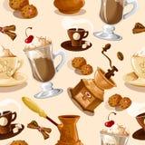 无缝咖啡的模式 免版税库存照片
