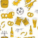 无缝啤酒的模式 啤酒的传染媒介例证设计的 库存照片