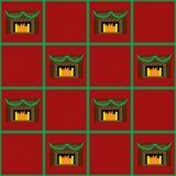 无缝圣诞节的壁炉 免版税库存照片
