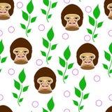 无缝在白色背景的大猩猩画象与绿色增殖比 库存照片