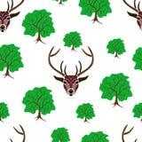 无缝在白色背景的鹿画象与大和sma 库存图片
