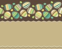 无缝复活节彩蛋水平的模式 免版税库存图片