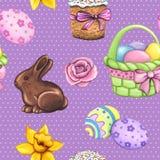 无缝复活节的模式 紫罗兰色无缝的装饰季节性样式