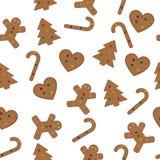 无缝姜饼的模式 免版税库存照片