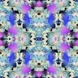 无缝巴洛克式的模式 wal传染媒介花卉五颜六色的背景 免版税库存图片